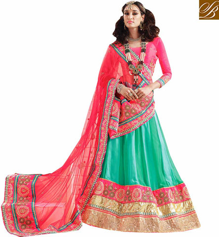 3 PIECE ELEGANT DESIGNER GREEN LEHENGA WITH PINK BLOUSE RTSYS9038 BY GREEN