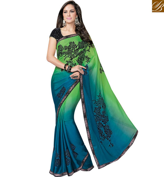 STYLISH BAZAAR BLUE AND GREEN SHADED SATIN GEORGETTE SAREE WITH BLACK VELVET BLOUSE MHFCL9039