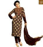EVER STYLISH KAMEEZ SHALWAR DESIGN 2015 FOR WOMEN  BROWN GEORGETTE AND VELVET STRAIGHT CUT SUIT WITH SANTOON SALWAR AND CHIFFON ODHNI