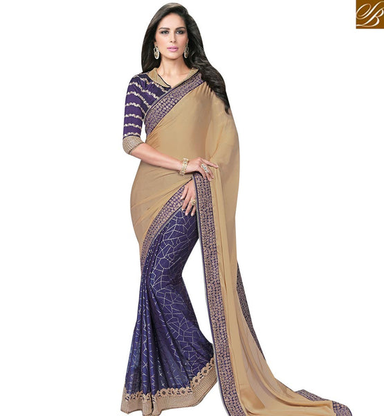 STYLISH BAZAAR BEIGE AND NAVY BLUE SATIN CHIFFON HALF N HALF SAREE WITH SILK BLOUSE MHFCL9040