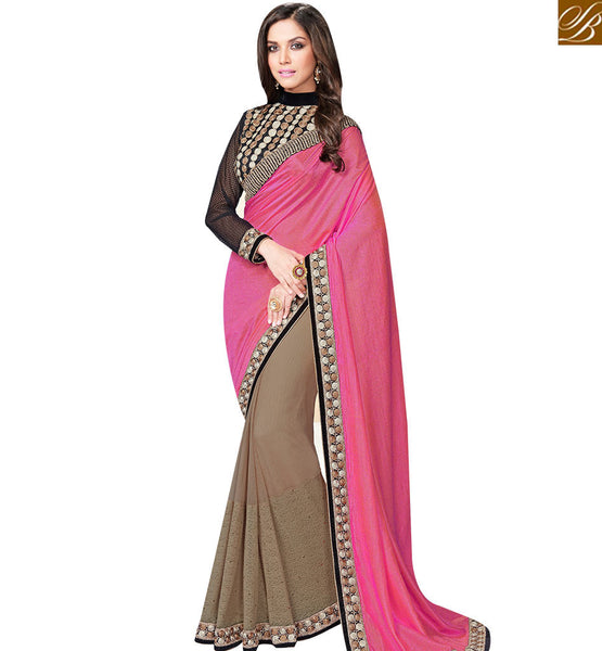 STYLISH BAZAAR PINK AND BEIGE SATIN CHIFFON HALF N HALF SAREE WITH BLACK EMBROIDERED BLOUSE MHFCL9041