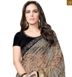 PLEASING BROWN AND BEIGE SATIN GEORGETTE SAREE WITH BLACK VELVET BLOUSE MHFCL9042
