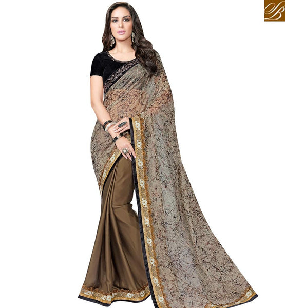STYLISH BAZAAR PLEASING BROWN AND BEIGE SATIN GEORGETTE SAREE WITH BLACK VELVET BLOUSE MHFCL9042