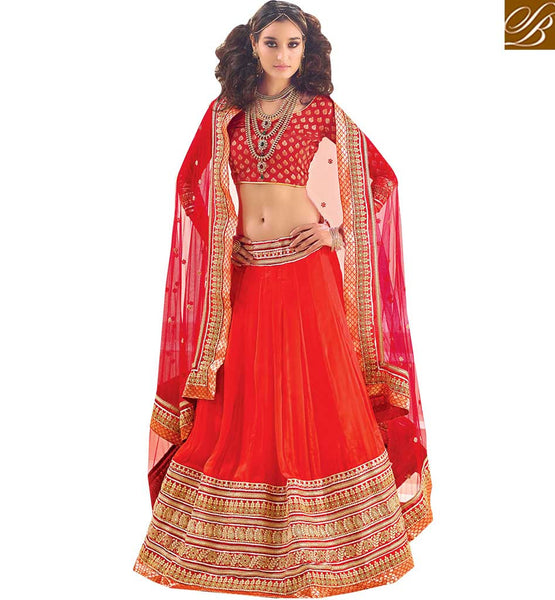FASCINATING WEDDING WEAR DESIGNER 3 PIECE GHAGHRA CHOLI RTSYS9042 BY RED