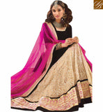 INTERESTINGLY DESIGNED 3 PIECE BLACK AND CREAM GHANGHRA CHOLI RTSYS9043 BY STYLISH BAZAAR