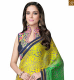 RED GREEN AND YELLOW SATIN GEORGETTE DIGITAL PRINT SAREE WITH HYNECK STYLE BLOUSE MHFCL9043