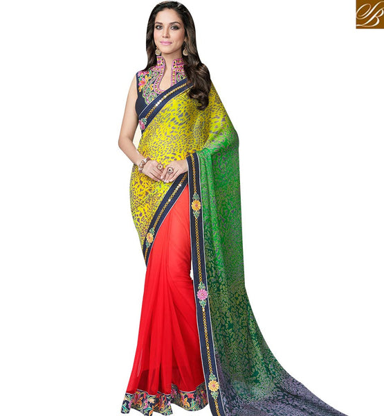 STYLISH BAZAAR RED GREEN AND YELLOW SATIN GEORGETTE DIGITAL PRINT SAREE WITH HYNECK STYLE BLOUSE MHFCL9043