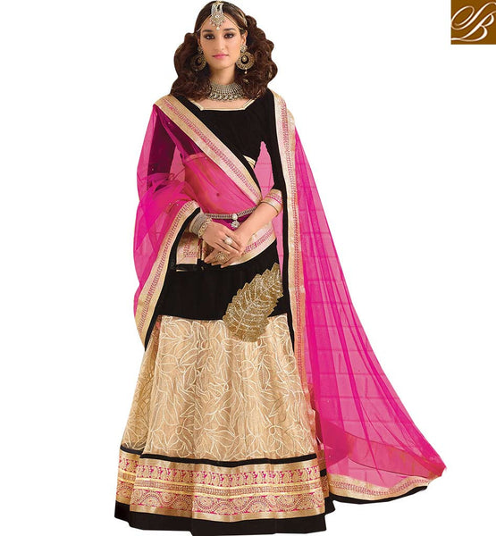 INTERESTINGLY DESIGNED 3 PIECE BLACK AND CREAM GHANGHRA CHOLI RTSYS9043 BY CREAM & BLACK