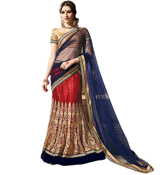 STYLISH BAZAAR MAROON AND CREAM LEHENGA CHOLI DESIGNER WEAR RTARIJ9044