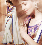 WHITE CHIFFON CASUAL WEAR SAREE RTAH904