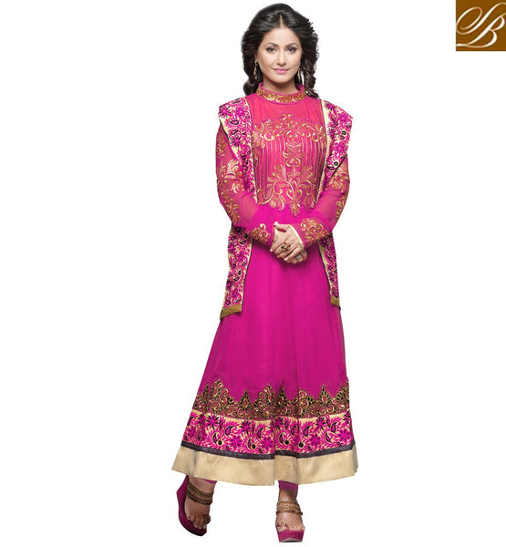HINA KHAN IN ANARKALI DRESS LATEST DESIGNS FOR RAMADAN EID 2015