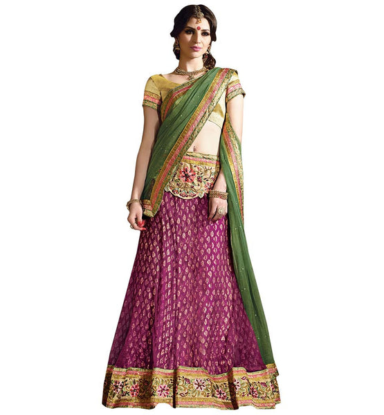 STYLISH BAZAAR STYLISH PINK LEHENENGA ALONG WITY A CREAM BLOUSE AND GREEN DUPATTA RTARIJ9050