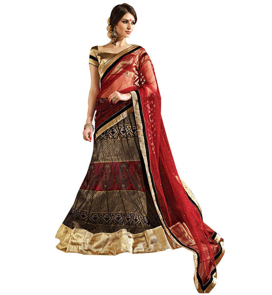 STYLISH BAZAAR BEAUTIFUL BLACK NET LEHENGA COMPLEMENTED WITH A CREAM RTARIJ9054