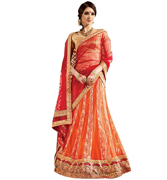 BROUGHT TO YOU BY STYLISH BAZAAR ATTRACTIVE ORANGE AND CREAM PARTY WEAR LEHENGA CHOLI DESIGN RTARIJ9055