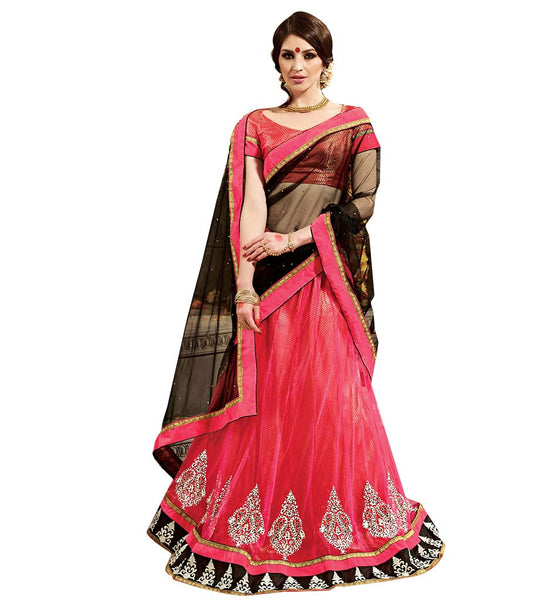 STYLISH BAZAAR GRACEFUL PINK 3 PIECE LEHENGA CHOLI DESIGN  RTARIJ9056