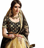 STYLISH BAZAAR ELEGANT MIX OF BLACK AND CREAM IN A 3 PIECE LEHENGA SARI RTARIJ9057