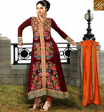 SHOP ONLINE INDIA NEW DESIGN OF SALWAR KAMEEZ MAJESTIC MAROON GEORGETTE AND JACQUARD SUIT WITH ORANGE SALWAR AND DUPATTA