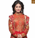AKSHARA HINA KHAN RED DESIGNER PARTY WEAR ANARKALI DRESS