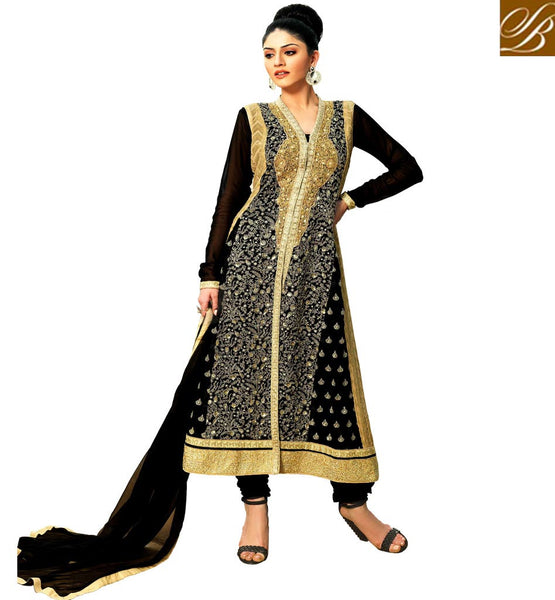 PAKISTANI DESIGNER SALWAR KAMEEZ BUY IN INDIA BLACK GEORGETTE KAMEEZ WITH MATCHING SANTOON SALWAR AND CHIFFON DUPATTA