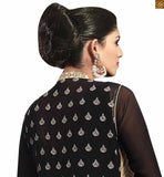 Black designer jacket style georgette salwar kameez black georgette heavy zari, floral embroidery and stone worked jacket style salwar kameez for party wear Image