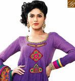 PURPLE PURE JACQUARD SUIT WITH MATCHING SALWAR AND BEIGE CHIFFON ODHNI ROUND NECK PURPLE COLOR PURE GEORGETTE KAMEEZ WITH CHIFFON DUPATTA IN MULTI COLOR PATCH WORK AT NECK