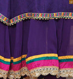 This dress attractive part of dupatta. Dupatta on amazing embroidery work with lace border work. Purple santoon churidar bottom Image