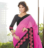 RICH BORDER PARTY WEAR SAREE WITH BLOUSE PIECE