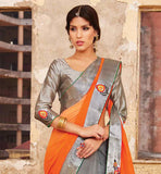 STUNNING ORANGE AND GREY PARTY WEAR SARI WITH BLOUSE