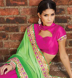 COOL PINK AND GREEN EVERSTYLISH PARTY WEAR SARI WITH BLOUSE
