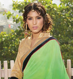 GORGEOUS LIGHT GREEN PARTY WEAR SARI WITH CONTRAST BEIGE BLOUSE