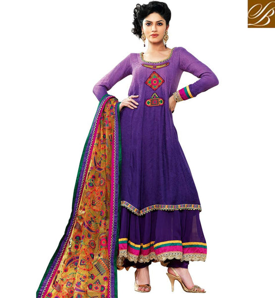 STYLISH BAZAAR SALWAR KAMEEZ DESIGNS CATALOGUE  PURPLE PURE JACQUARD SUIT WITH MATCHING SALWAR AND BEIGE CHIFFON ODHNI