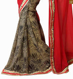 Red, beige georgette and chiffon indian half and half saree with red, beige dupion and net full sleeve embroidered designer blouse embroidered blouse neck design for cute indian women saree