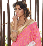 DAZZLING DUSTY PINK KASTURI CREPE SARI WITH RICH PALLU