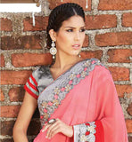 SMART COLOR COMBINATION PARTY WEAR SARI WITH RICH BORDER