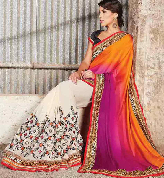 NEW FASHION INDIAN DESIGNER PARTY WEAR SAREE BLOUSE ONLINE SHOPPING