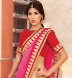 LIGHT WEIGHT SHADED PARTY WEAR SAREE WITH BLOUSE PIECE