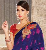 SUPERB PARTY WEAR SARI WITH STUNNING FLORAL DESIGNS