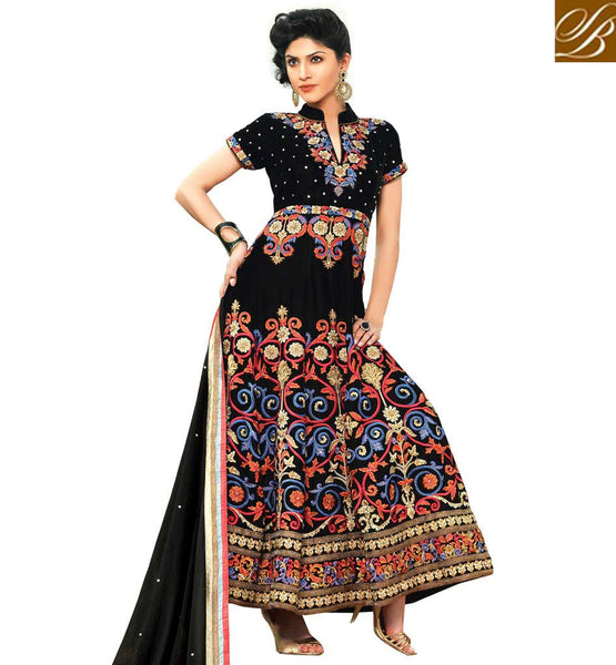 NEW PATTERN WOMEN STYLISH SALWAR KAMEEZ DESIGNS  BLACK GEORGETTE AND VELVET ANARKALI WITH SANTOON SALWAR AND CHIFFON ODHNI