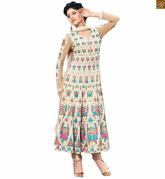 Cream colored georgette floral designer dress cream georgette floral embroidered party wear salwar kameez to make you look like new generation stylish girl Image