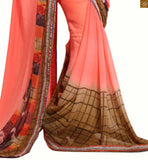 Orange and beige georgette indian new collection printed saree with blue dupion embroidered stylish blouse beautiful blouse designs in combination of everstylish sarees