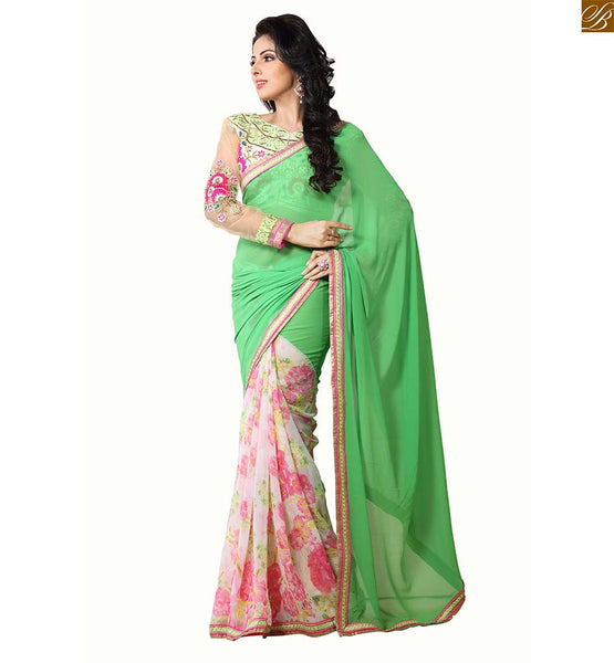 Beautiful indian best saree wear, Green & off-white Georgette floral printed saree with matchig net embroidered full sleeve blouse design catalogue style online
