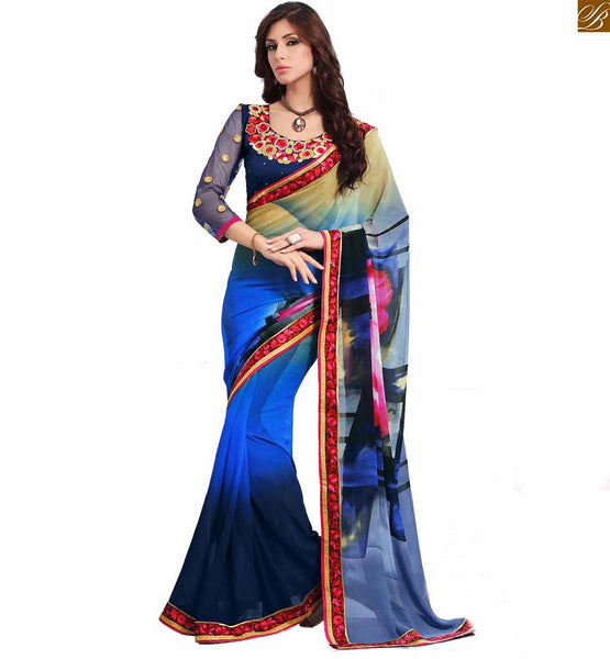 STYLISH BAZAAR SPLENDID BLUE COLOURED SAREE COMPLEMENTED WITH A BLUE BLOUSE RTDOV9101