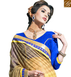 CHECKERED PATTERN SELF DESIGNING WITH EMBROIDERY WORK AND LACE BORDER YELLOW & MEHENDI COMBINATION BRASSO-GEORGETTE DRAPE WITH BLUE DUPION CHOLI