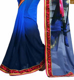 FROM STYLISH BAZAAR SPLENDID BLUE COLOURED SAREE COMPLEMENTED WITH A BLUE BLOUSE RTDOV9101