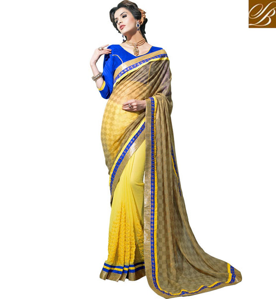 BLOUSE SAREE DESIGNS NEW 2015 PATTERN WITH IMAGES CHECKERED PATTERN SELF DESIGNING WITH EMBROIDERY WORK AND LACE BORDER