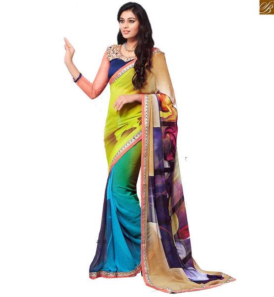 STYLISH BAZAAR INTRODUCES EXOTIC YELLOW, CREAM AND SKY BLUE COLORED SARI MATCHED WITH A BLUE BLOUSE RTDOV9102