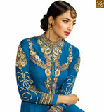 FROM THE HOUSE OF STYLISH BAZAAR GLAMOROUS BLUE COLORED DESIGNER SUIT WITH EYE CATCHING EMBROIDERED WORK SLAFN9102