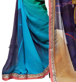 FROM STYLISH BAZAAR EXOTIC YELLOW, CREAM AND SKY BLUE COLORED SARI MATCHED WITH A BLUE BLOUSE RTDOV9102