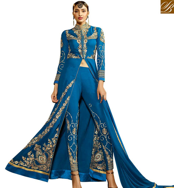 STYLISH BAZAAR GLAMOROUS BLUE COLORED DESIGNER SUIT WITH EYE CATCHING EMBROIDERED WORK SLAFN9102