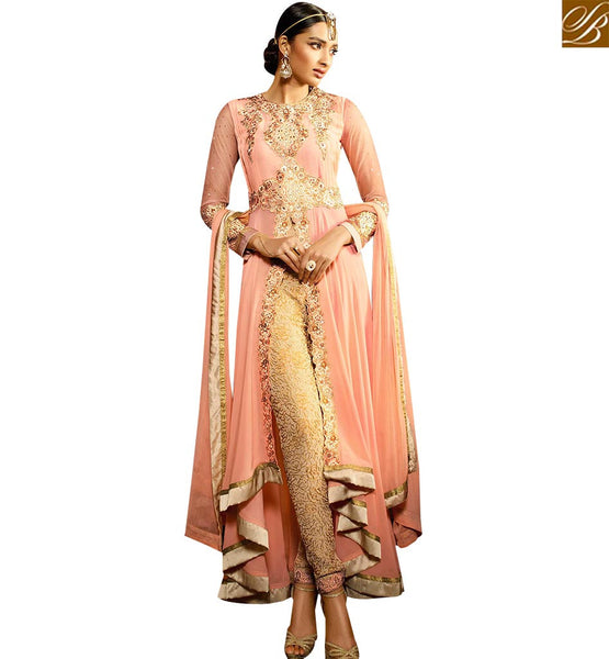 STYLISH BAZAAR GIRLISH PINK COLORED DESIGNER SALWAR SUIT WITH GREAT EMBROIDERY WORK SLAFN9103